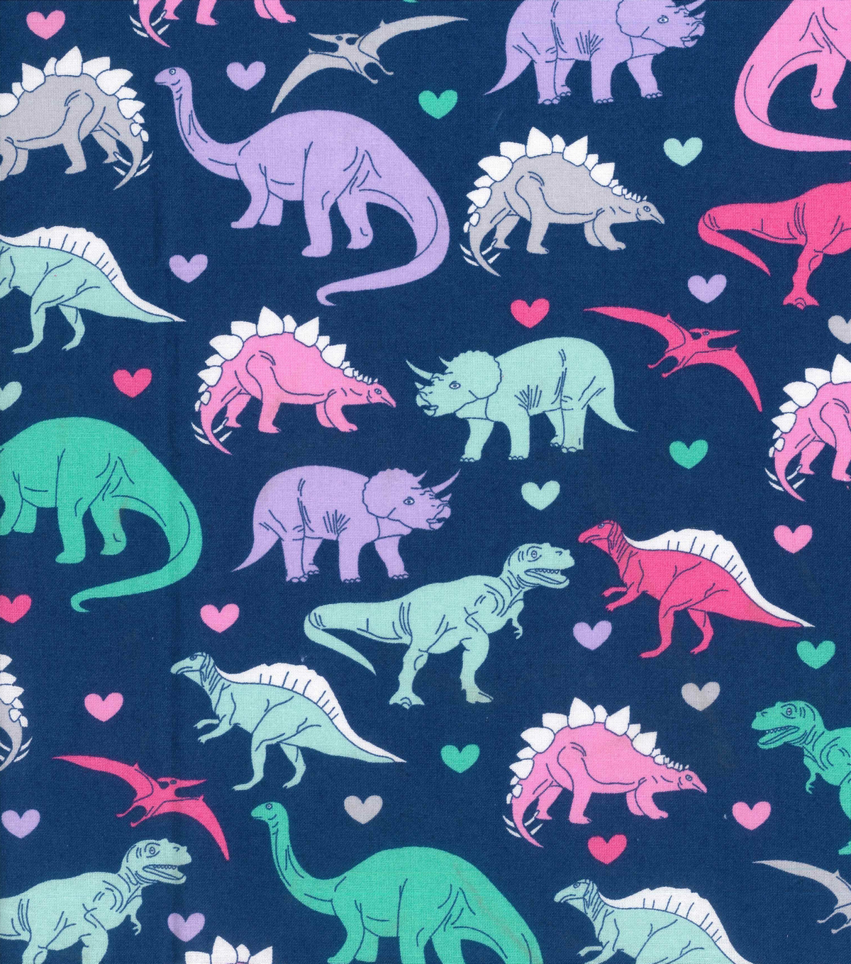 Novelty Cotton Fabric 43\u0022-Girl Dinosaur