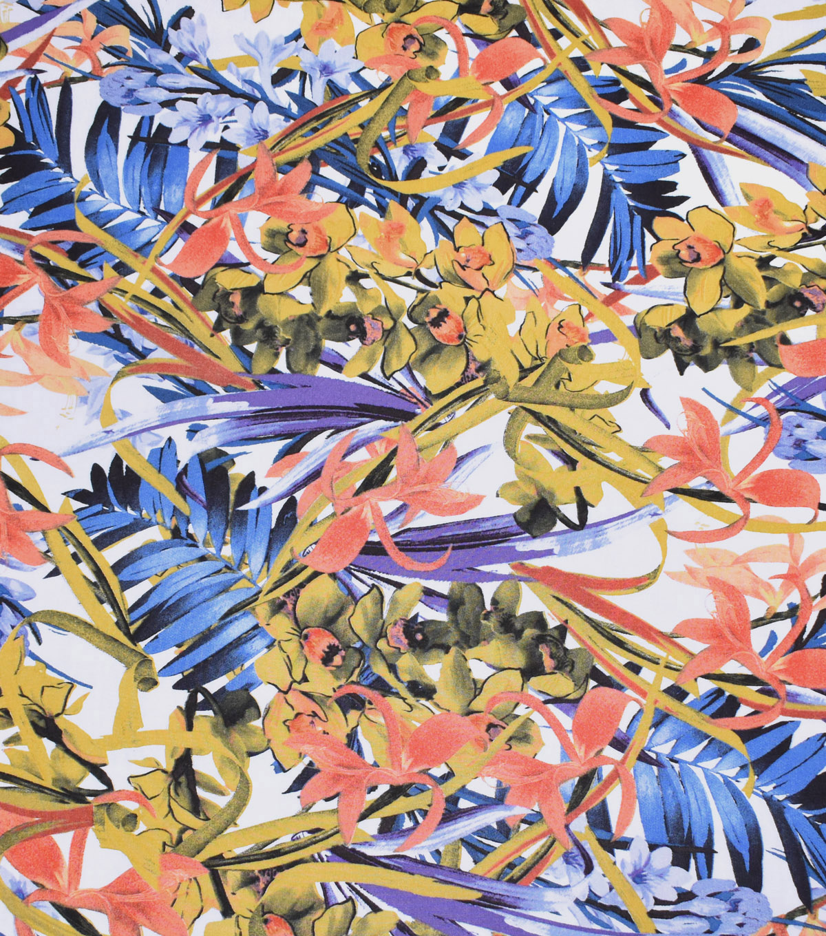 Silky Print Rayon Fabric 53\u0027\u0027-Multicolored Tropical Flowers on White