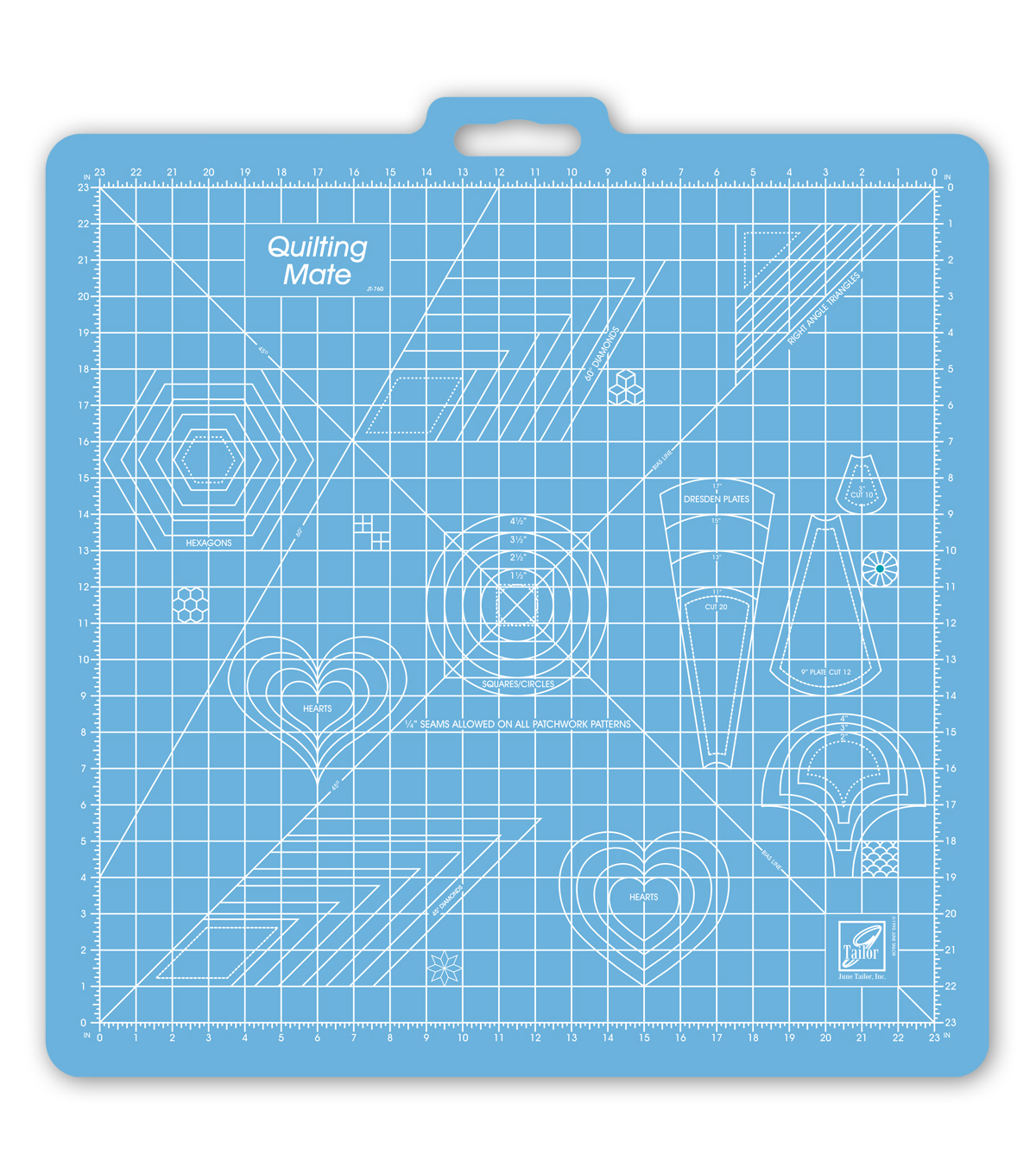 June Tailor Rotary Mat Templates With 23\u0022 x 23\u0022 Grid