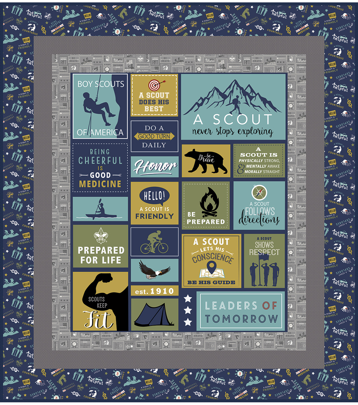 Quilt Kit-Scouts BSA A Scout Is...  by Riley Blake
