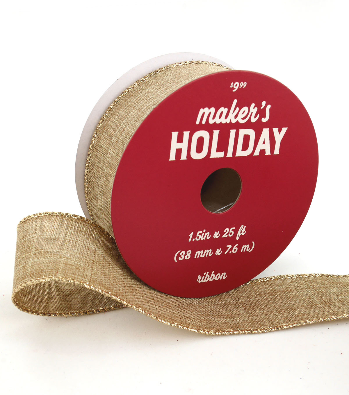 Maker\u0027s Holiday Christmas Ribbon 1.5\u0027\u0027x25\u0027-Natural with Metallic Edge