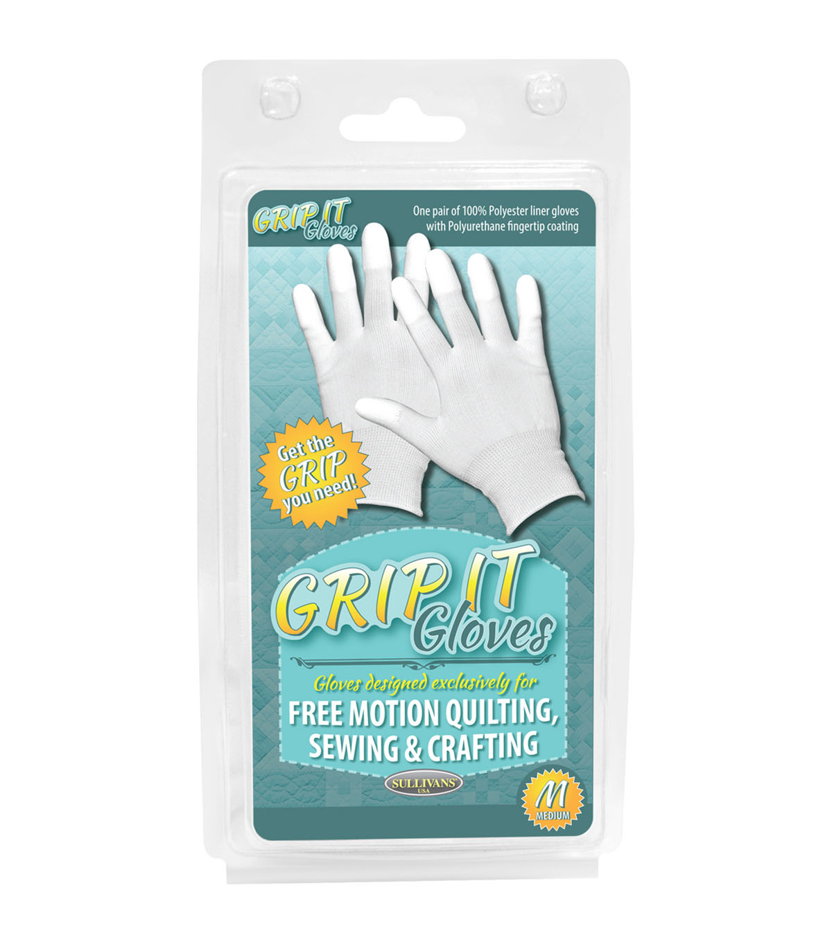 Sullivans Grip Gloves For Free Motion Quilting-Medium