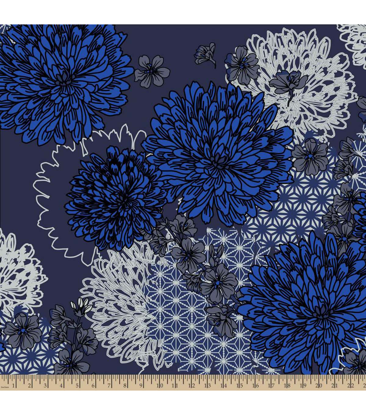 Anti-Pill Fleece Fabric -Dreary Daisy Blue