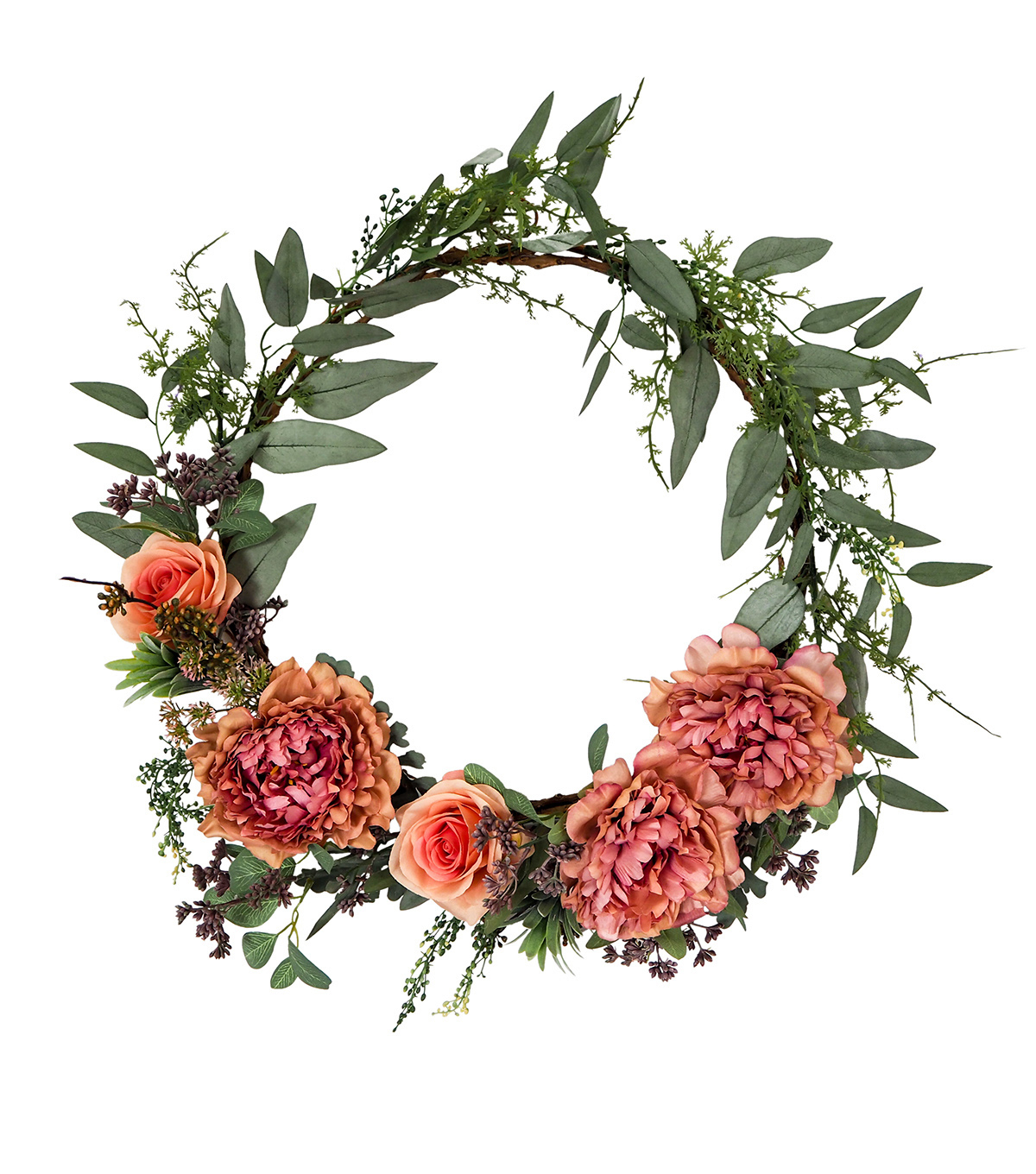 Blooming Autumn Peony & Rose Wreath-Green & Pink