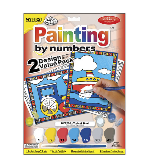 My First Paint By Number Value Kits-2PK/Train & Boat