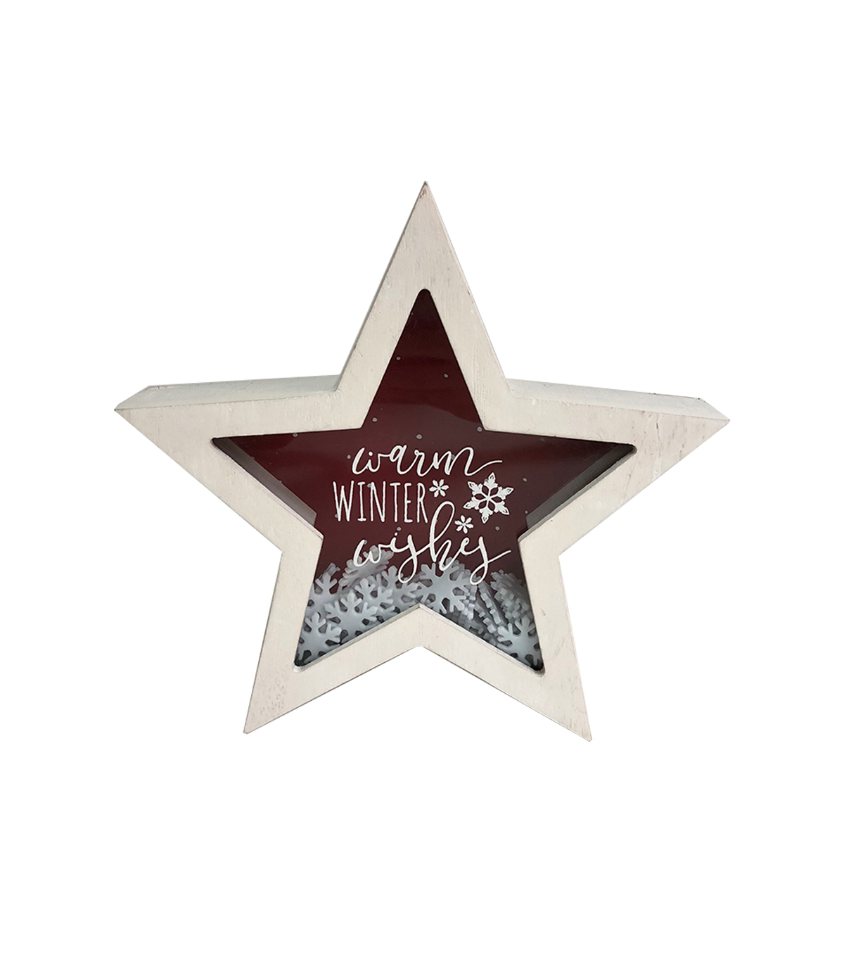 Maker\u0027s Holiday Christmas Star Shaker Decor-Warm Winter Wishes