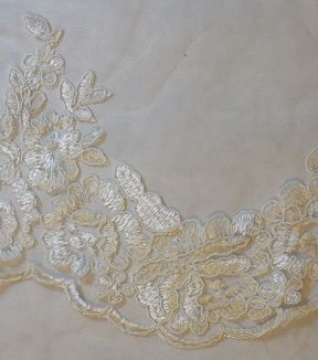 Save The Date Floral Lace Veil Fabric -Eggnog
