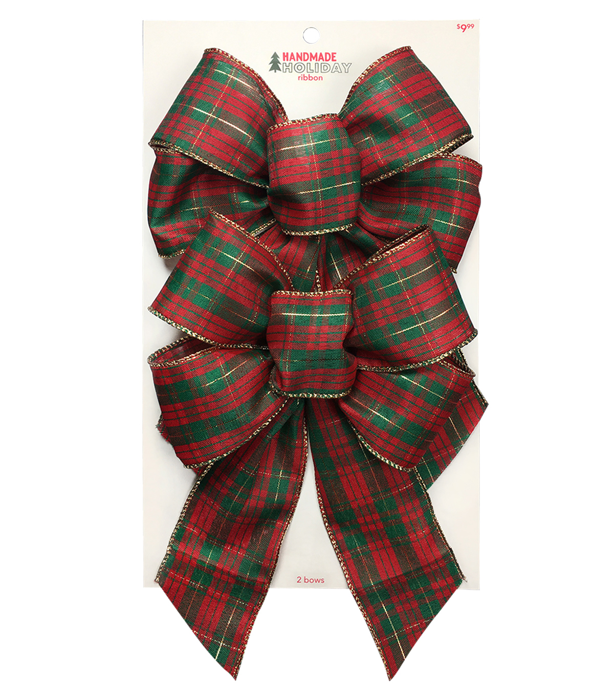 Handmade Holiday Christmas 2 pk Bows-Red & Green Plaid