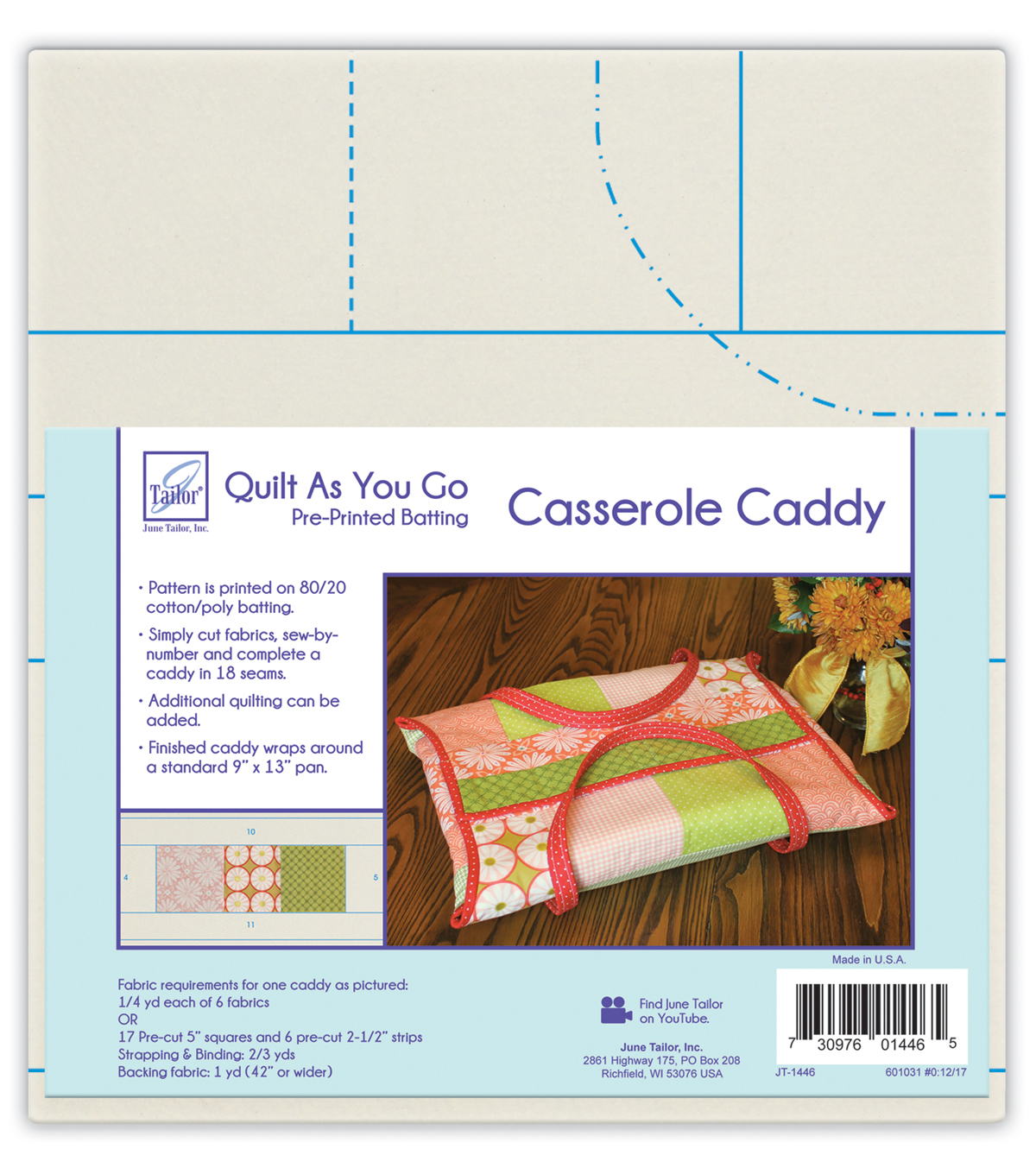 June Tailor Quilt As You Go Pre-printed Batting for Casserole Caddy