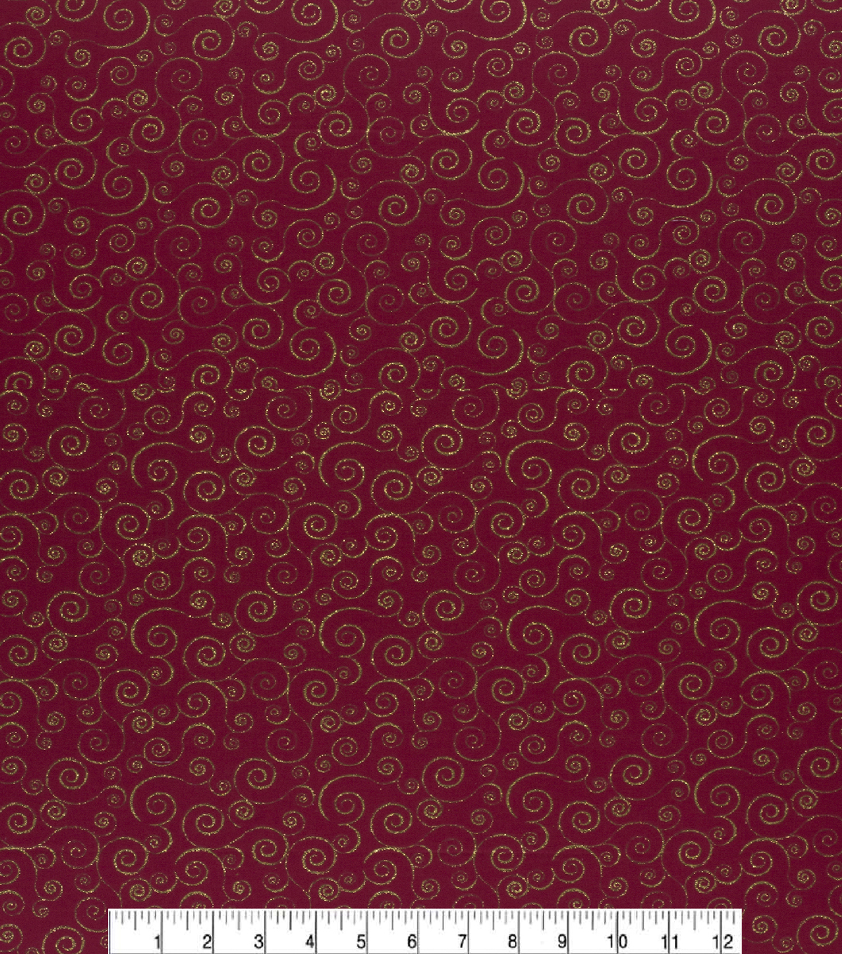 Christmas Cotton Fabric-Glitter Scrolls Red