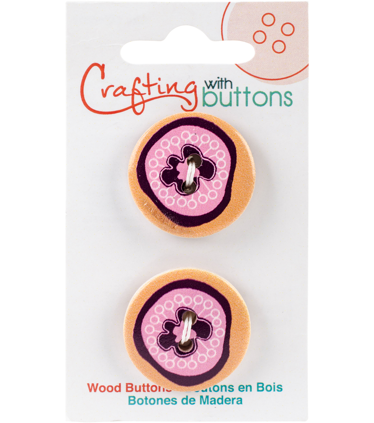 Crafting with Buttons Global Chic 2 pk 1\u0027\u0027 Wood Buttons-Peru Detail