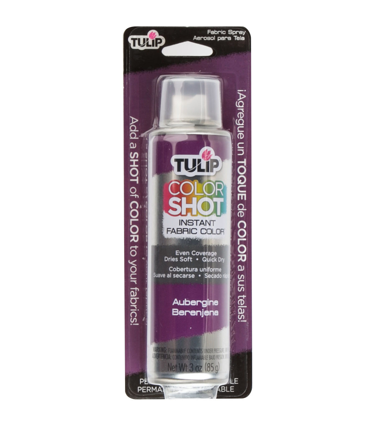 Tulip ColorShot Instant Fabric Color Spray 3oz, Aubergine