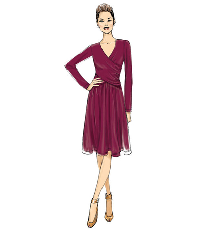 Butterick Pattern B6411 Misses\u0027 Ruched, Surplice Dress-Size 6-8-10-12-14