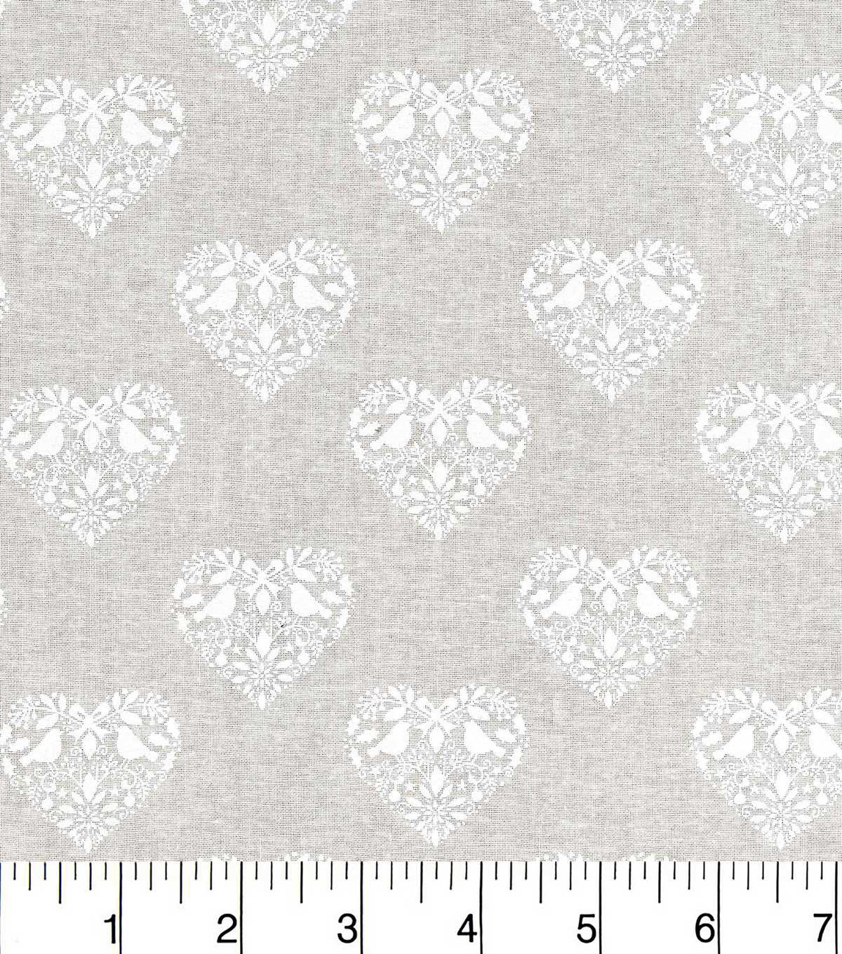 Christmas Cotton Fabric-Love Birds In Hearts White