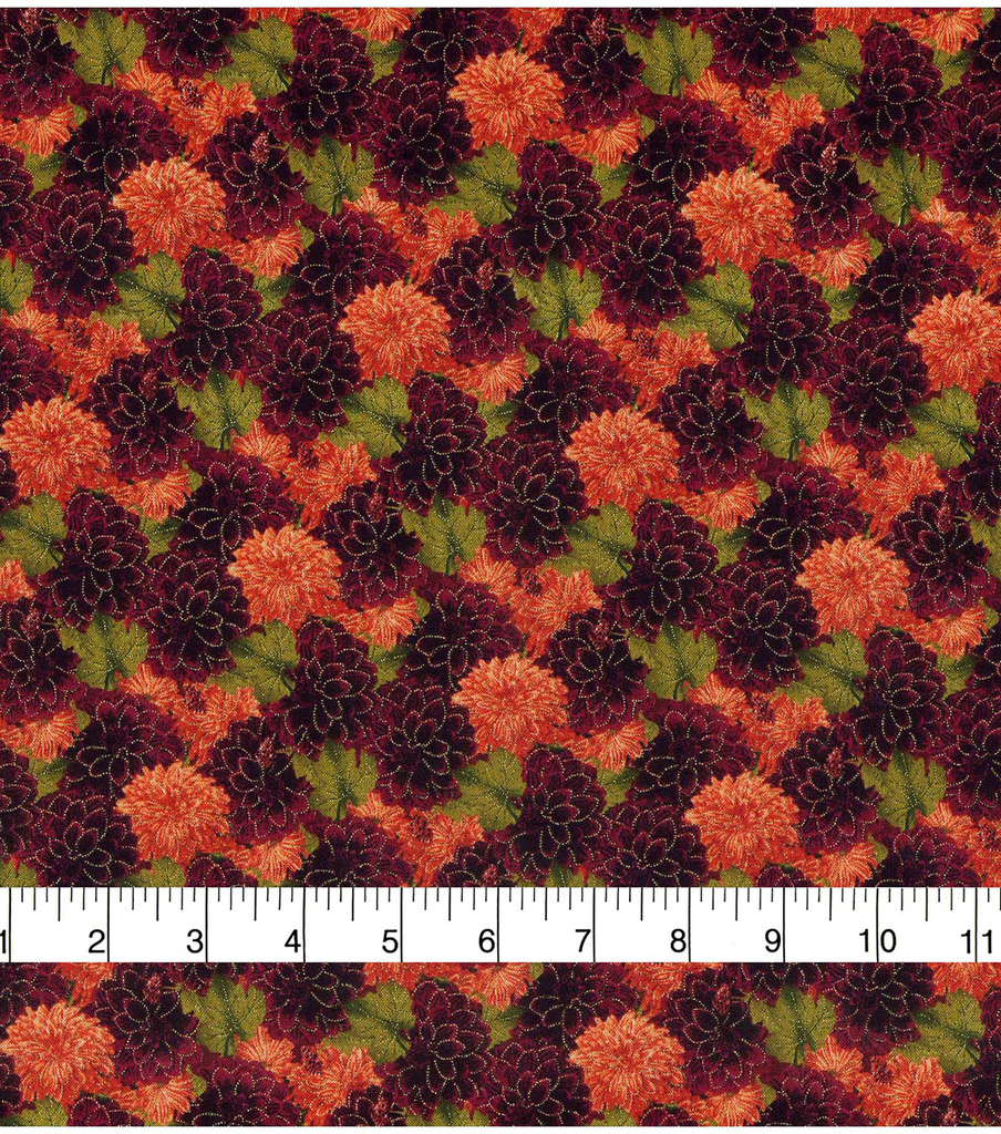 Harvest Cotton Fabric-Mini Packed Mums