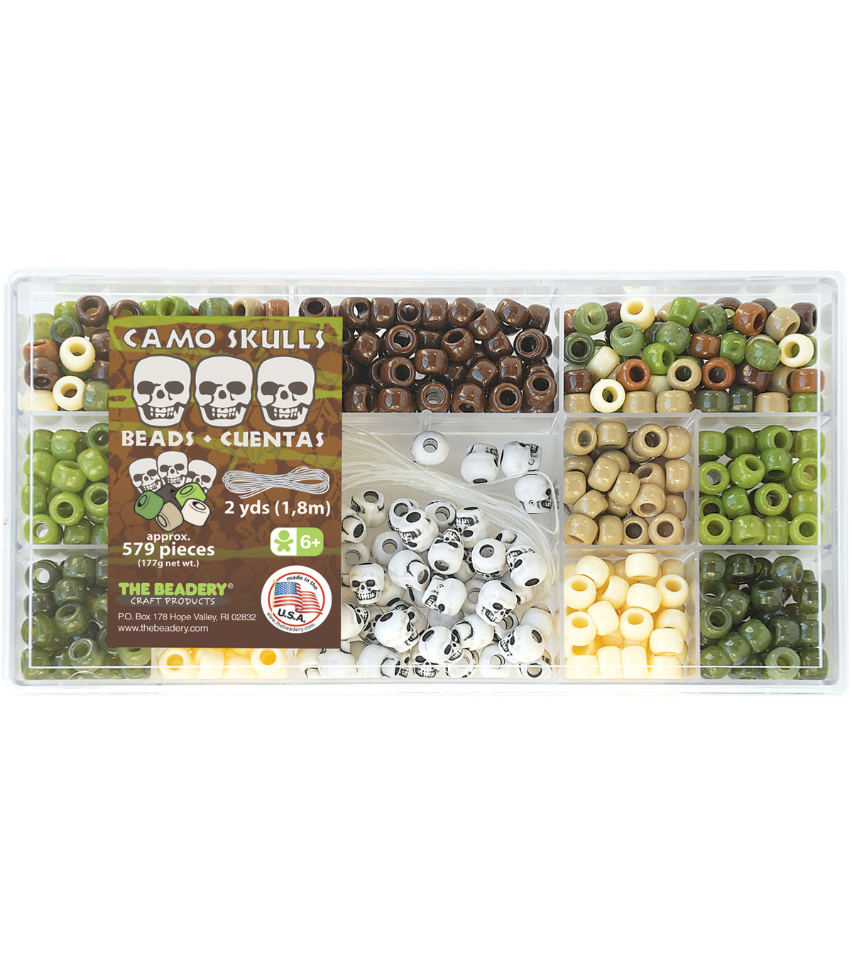 Bead Box Kit 579 Beads/Pkg-Camo Skulls