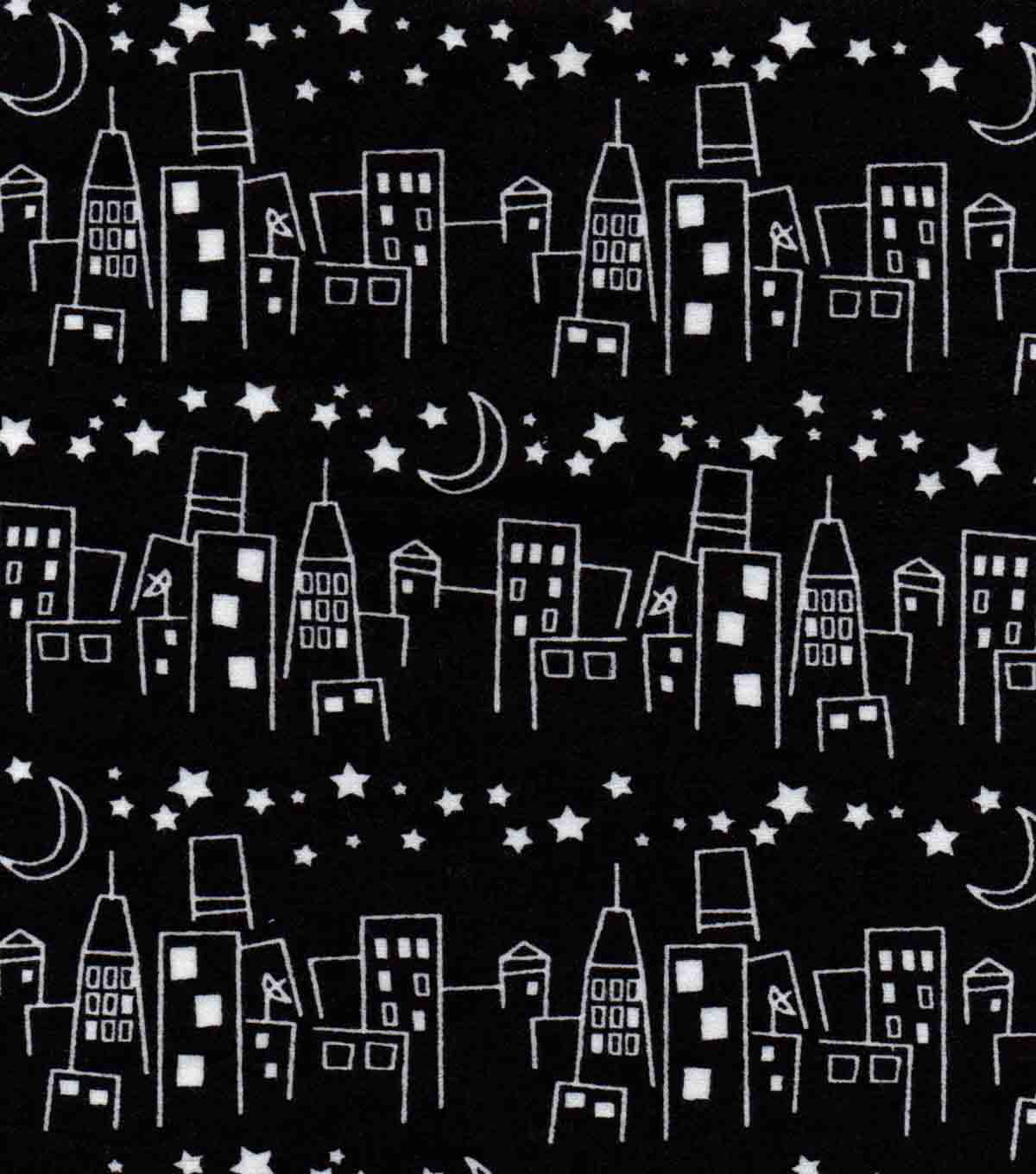 Snuggle Flannel Fabric 42\u0027\u0027-Black & White Cityscape