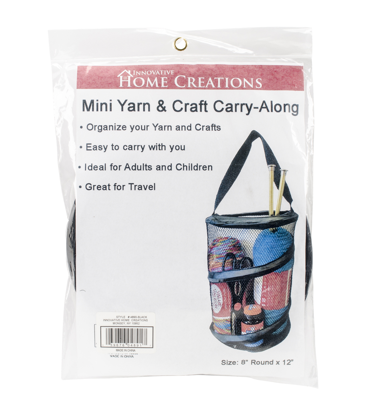 Innovative Home Creations Yarn & Craft Carry-Along 8\u0027\u0027x12\u0027\u0027, Black