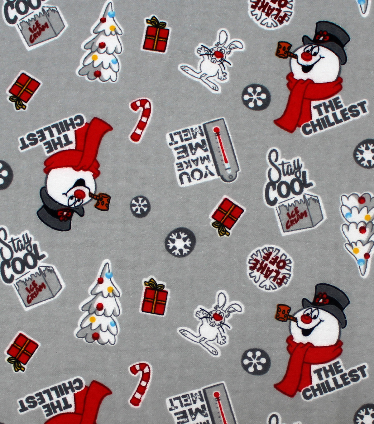 ccf88bd1f Christmas Frosty the Snowman Flannel Fabric-Tossed on Gray