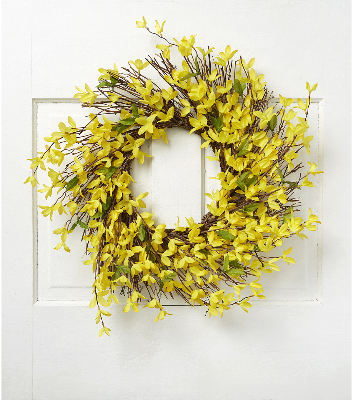 Fresh Picked Spring 22'' Forsythia & Twig Wreath-Yellow