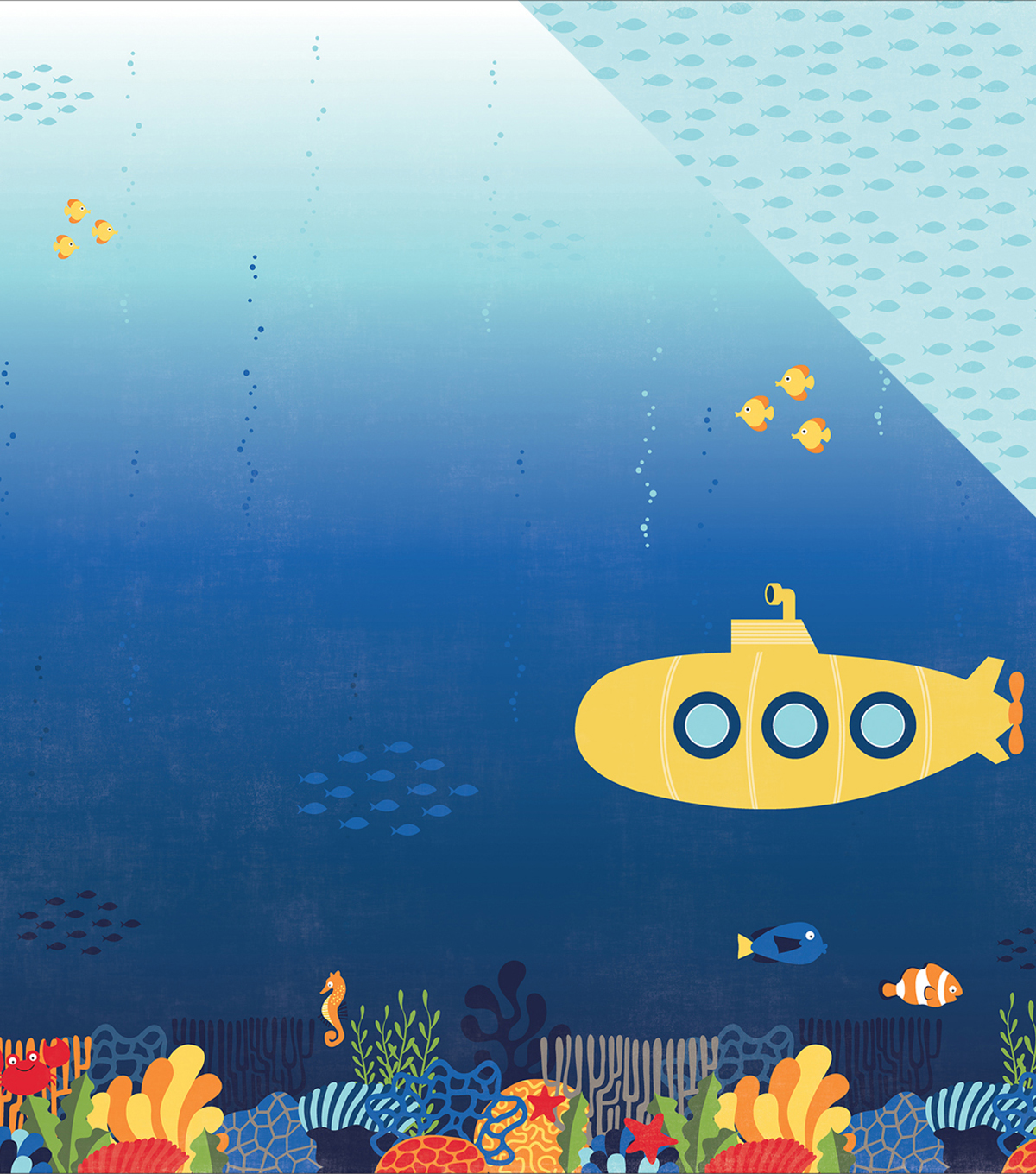 Under The Sea Double-Sided Cardstock 12\u0022X12\u0022-Submarine Scene