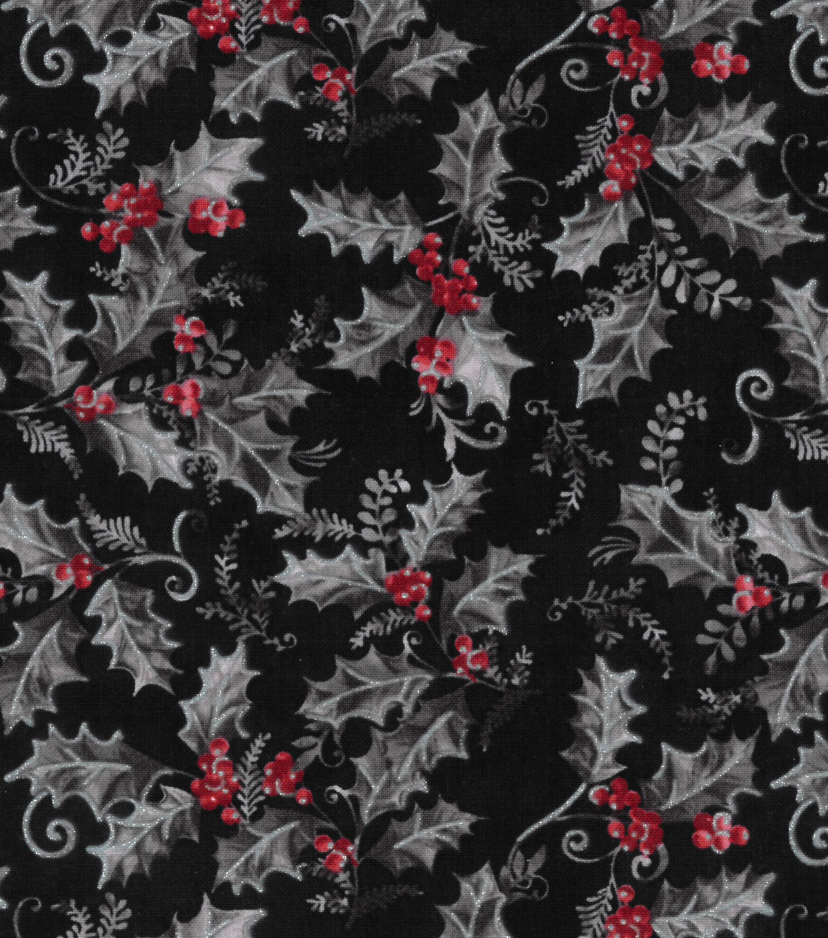 Christmas Cotton Fabric-Black Gray Red Holly Berry Glitter