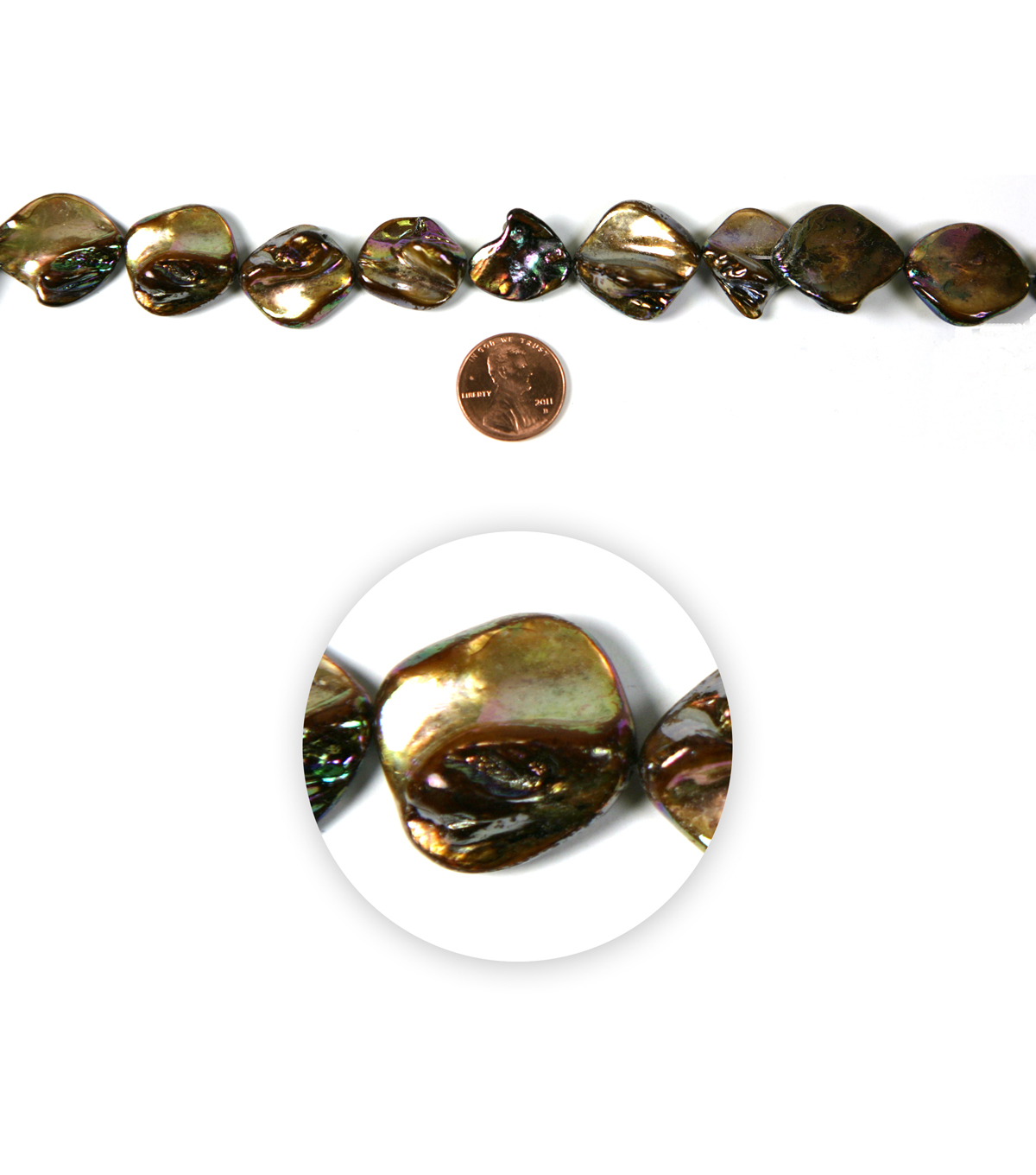 Blue Moon Strung Shell Beads,Diamond,Brown AB