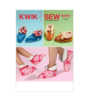 Kwik Sew Pattern K4151 Adult & Children\u0027s Slippers-Size XS-XL