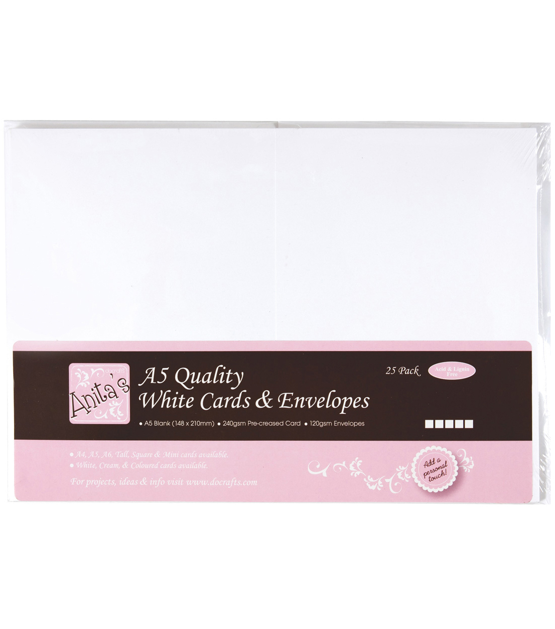 Anita\u0027s Cards/Envelopes A5 25/Pkg-White