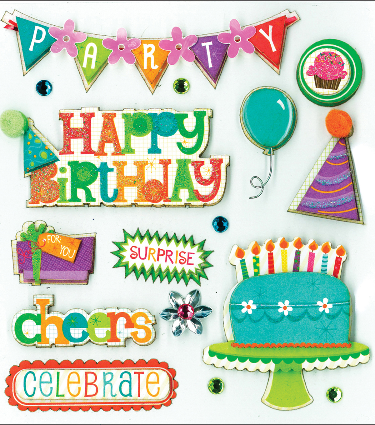 K&Company Dimensional Embellishments-Birthday Wishes