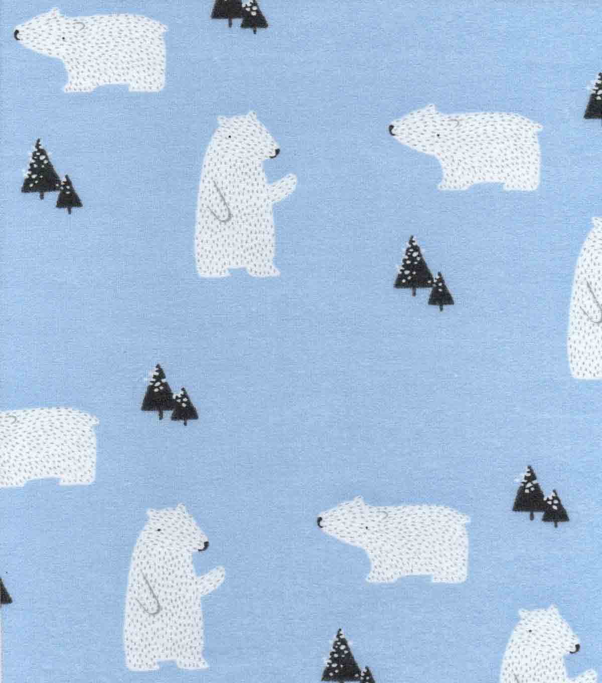 Luxe Flannel Fabric -Sketched Polar Bears