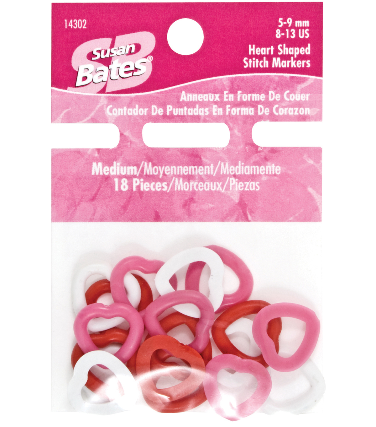 Susan Bates-Heart Shape Stitch Markers-Medium 18/Pkg