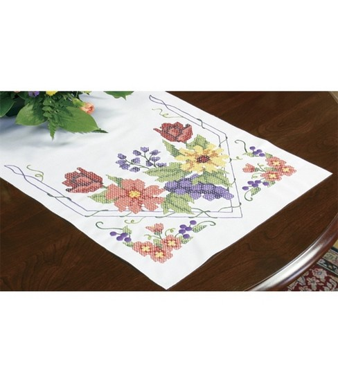Dimensions Stamped Cross Stitch Kit Flowers & Berries Table Runner