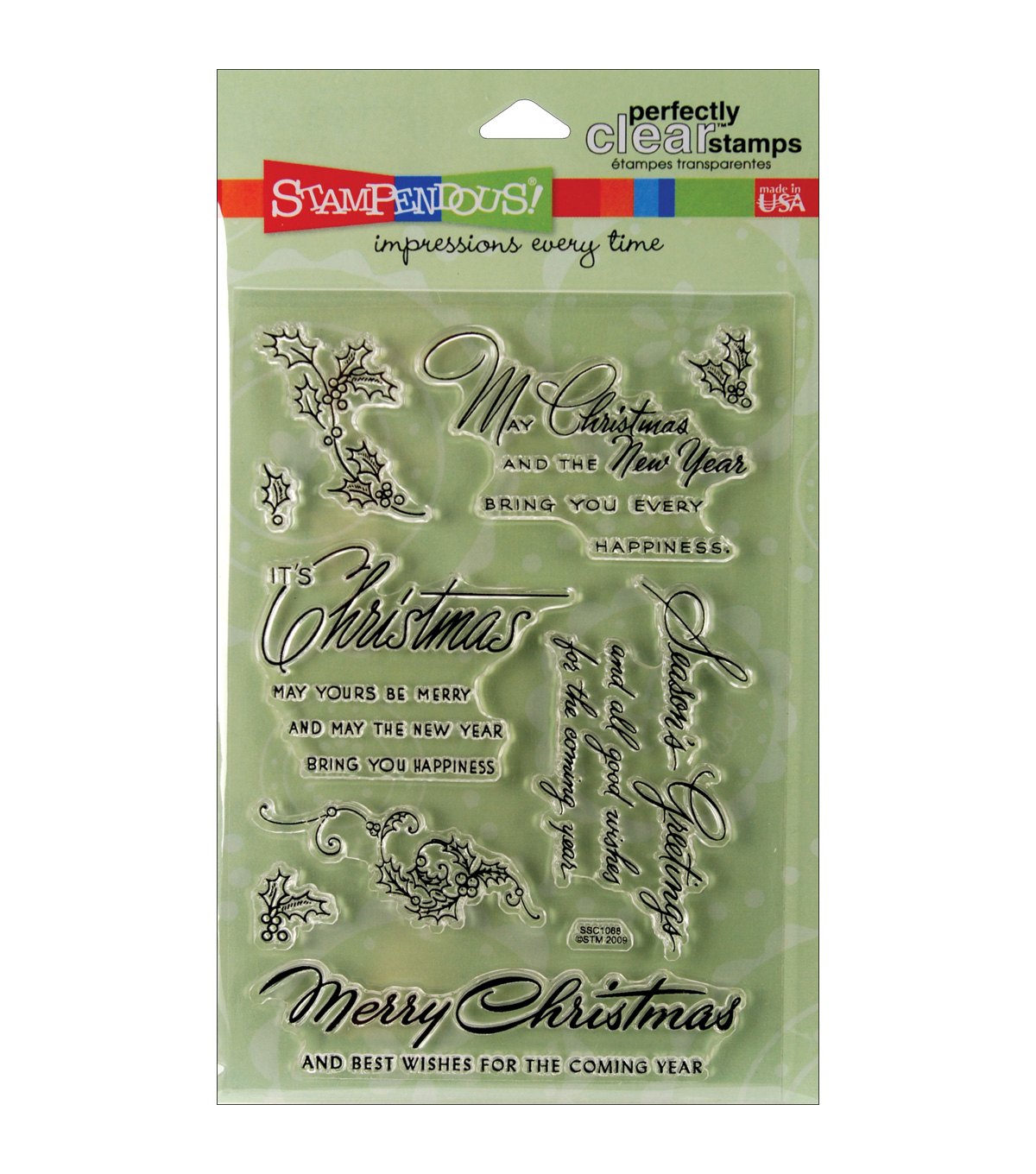 Stampendous Perfectly Clear Stamps 4\u0022X6\u0022 Sheet-Christmas Wishes