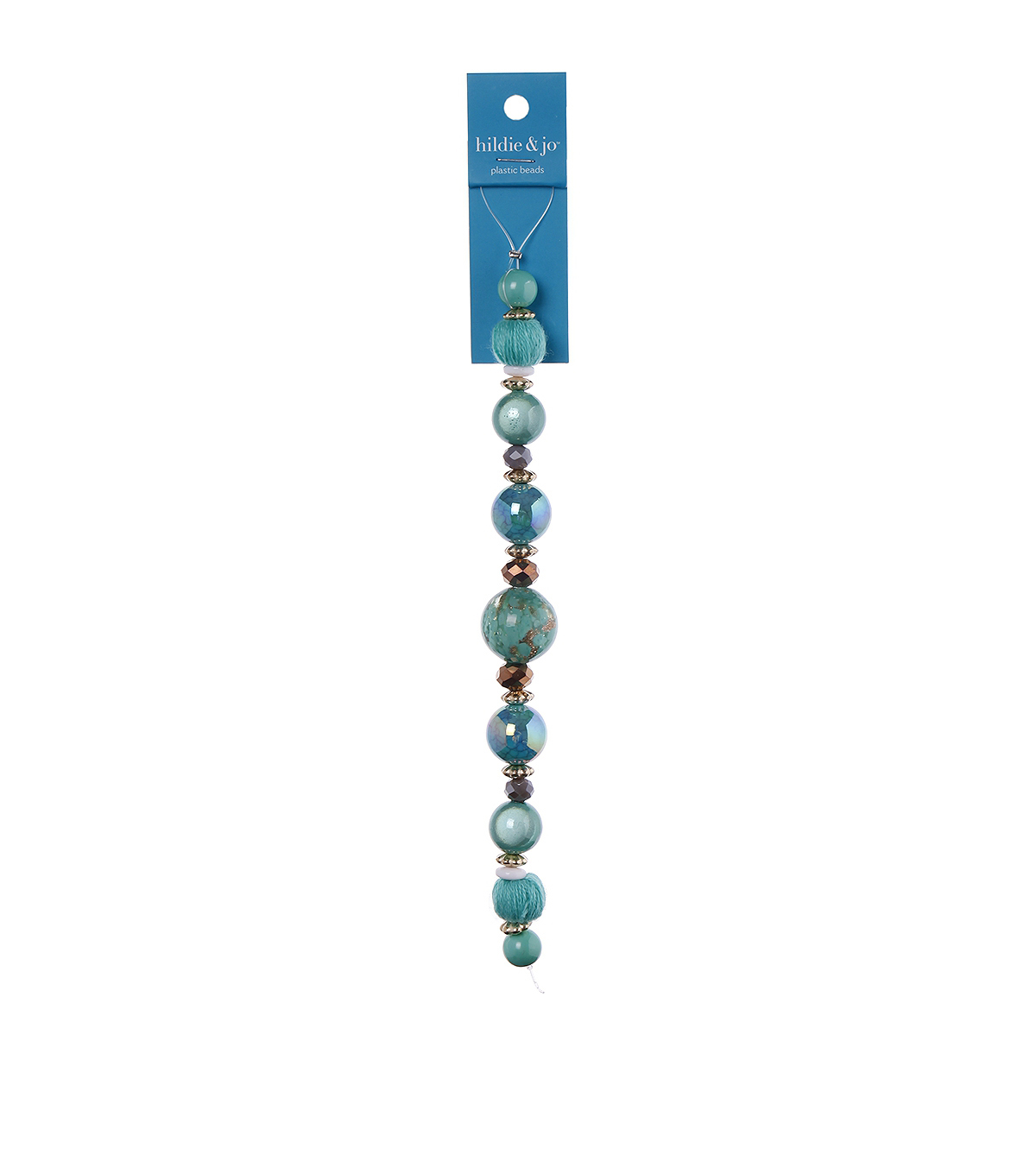 hildie & jo 7\u0027\u0027 Glass, Turquoise & Cotton Covered Beads-Blue