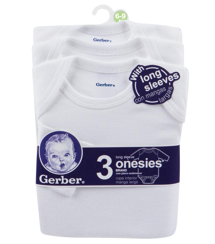 Gerber 3pk Long Sleeve Onesie 6 9m White Joann