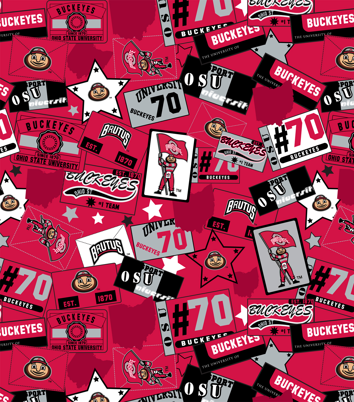 Ohio State University Buckeyes Cotton Fabric 43\u0022-Emblem