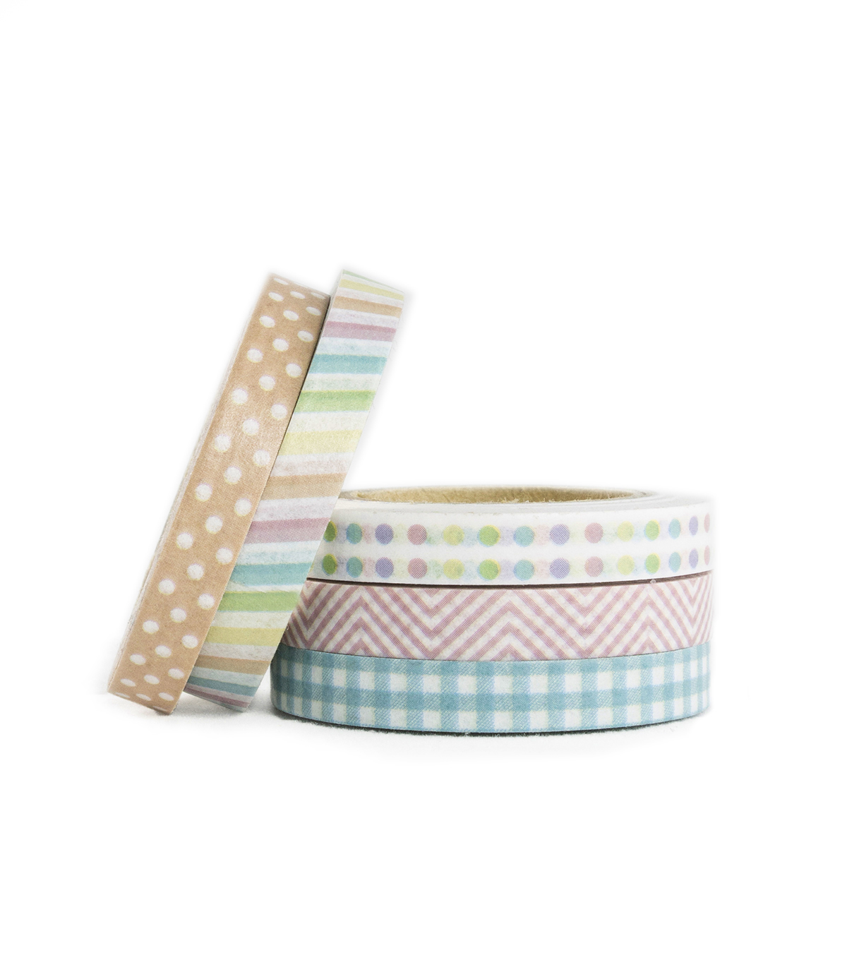 Park Lane 5 pk Micro Washi Tapes 0.24\u0027\u0027x10 yds-Pastel Rainbow
