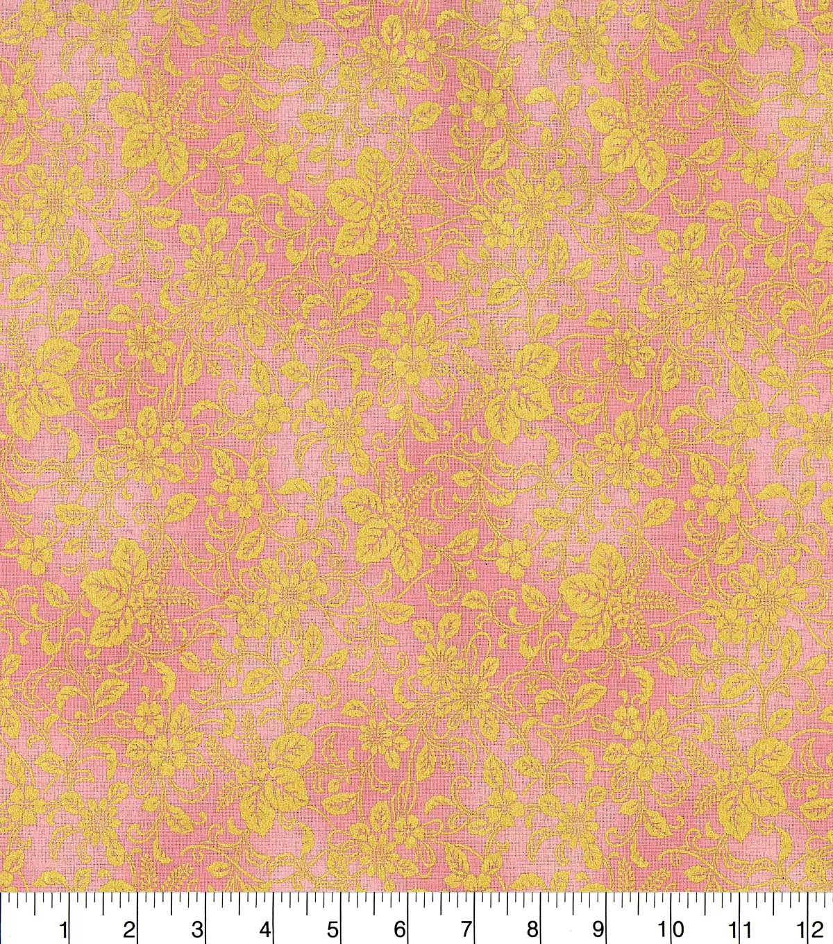 Asian Inspired Cotton Fabric 43\u0022-Floral Vines Pink Metallic