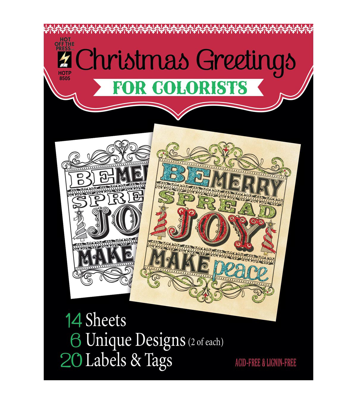 Christmas greetings coloring book for adults joann adult coloring book hot off the press christmas greetings m4hsunfo