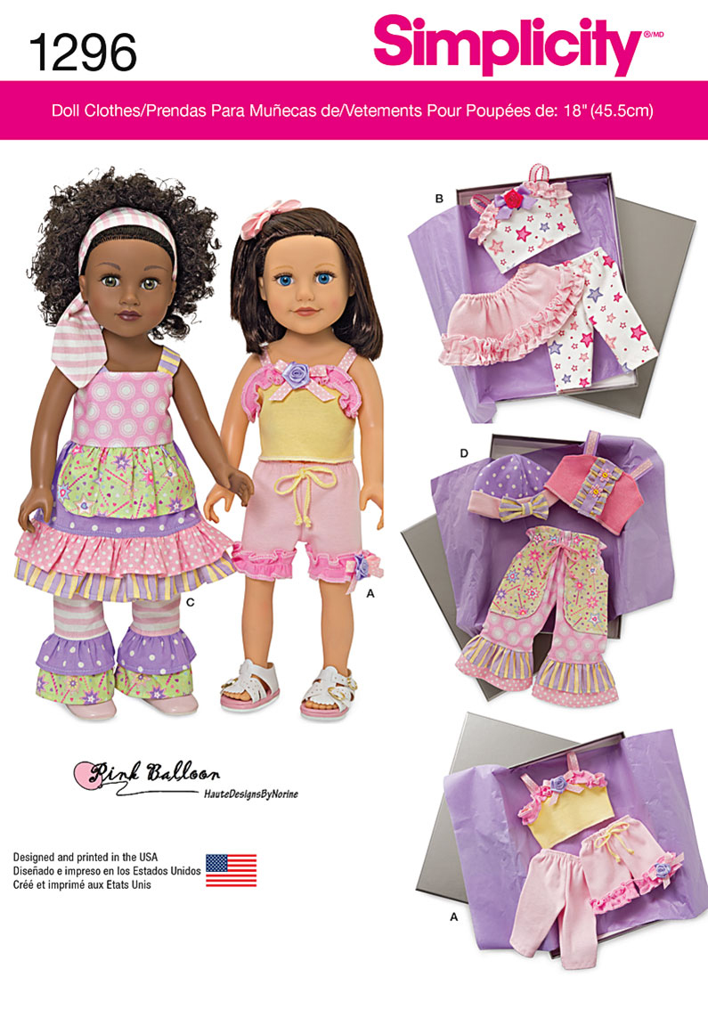 Simplicity Pattern 1296OS One Size -Undefined Doll Cloth