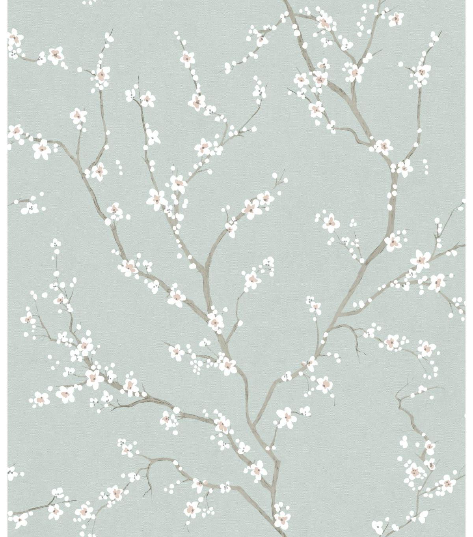 York Wallcoverings Wallpaper Blue Cherry Blossom Joann