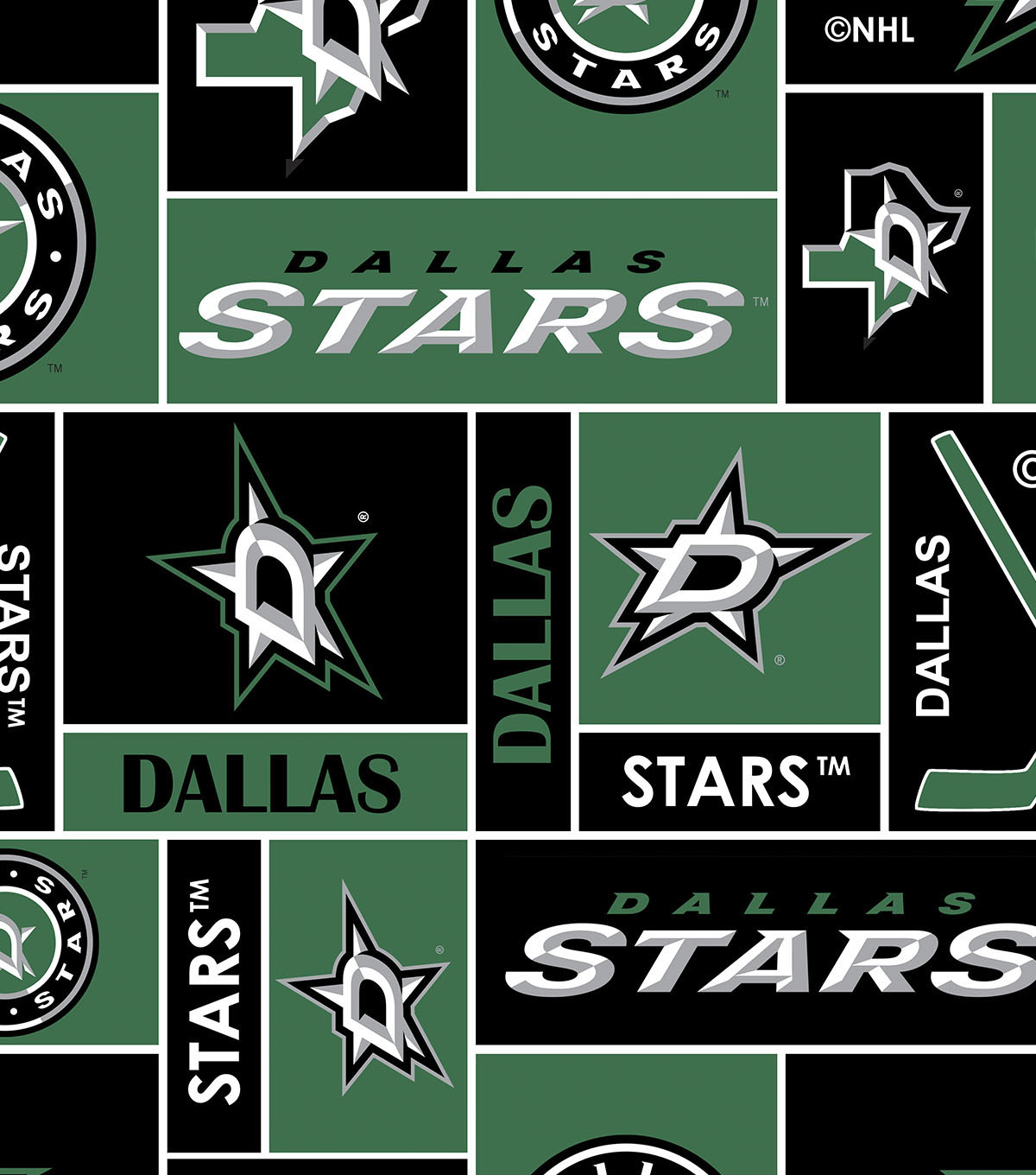 Dallas Stars Fleece Fabric -Black