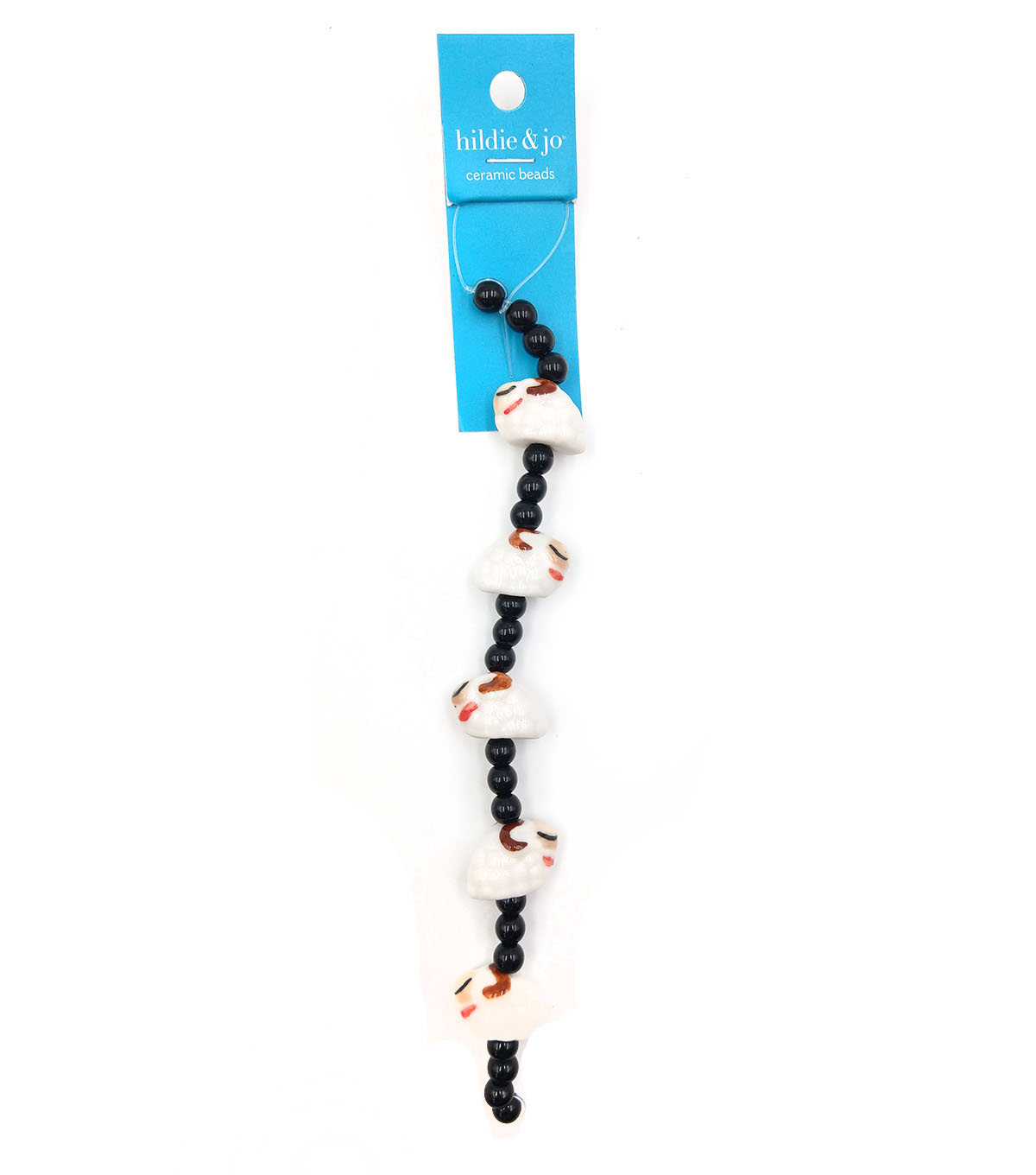 hildie & jo Ceramic Strung Beads-White Sheep & Black