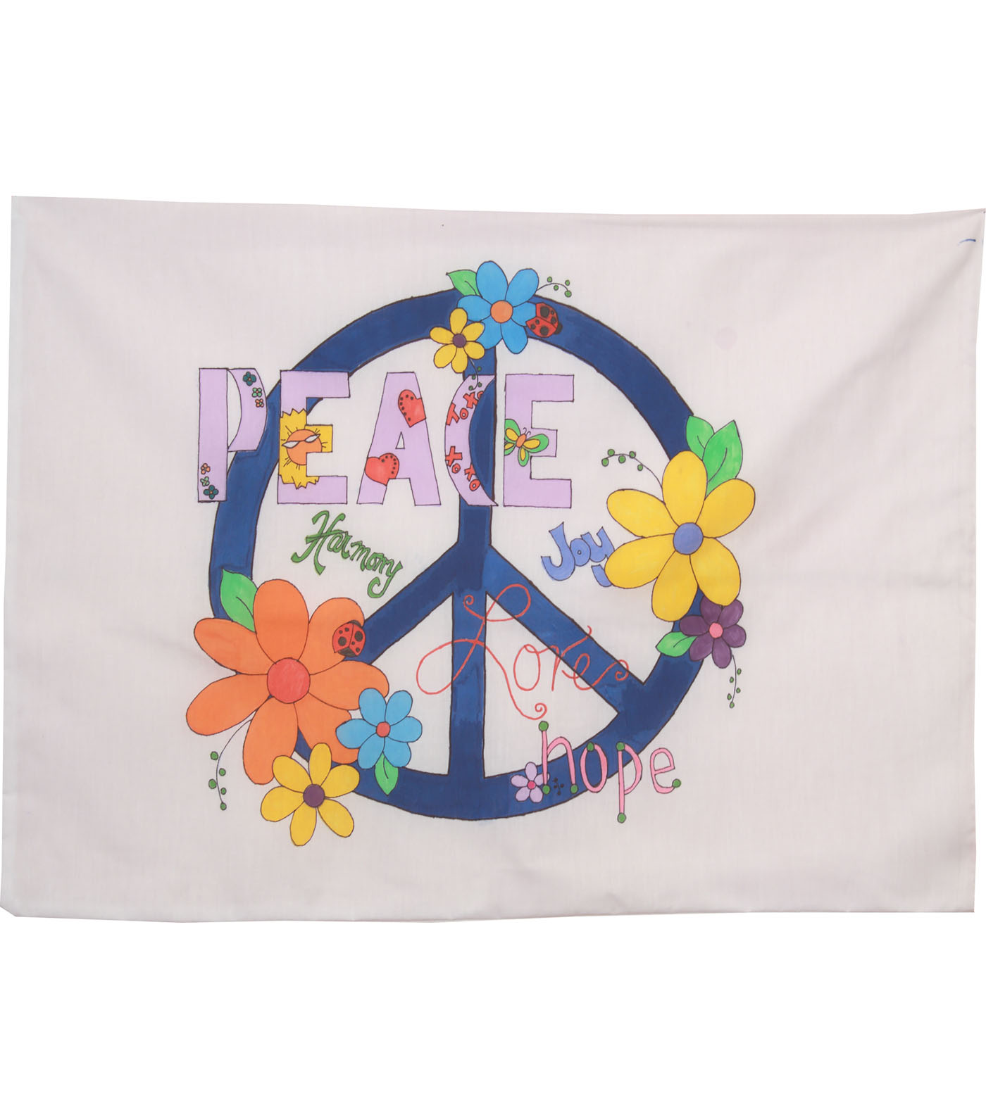 Fairway Needlecraft 30\u0027\u0027x20\u0027\u0027 Just Color-It Pillowcase-Peace Sign