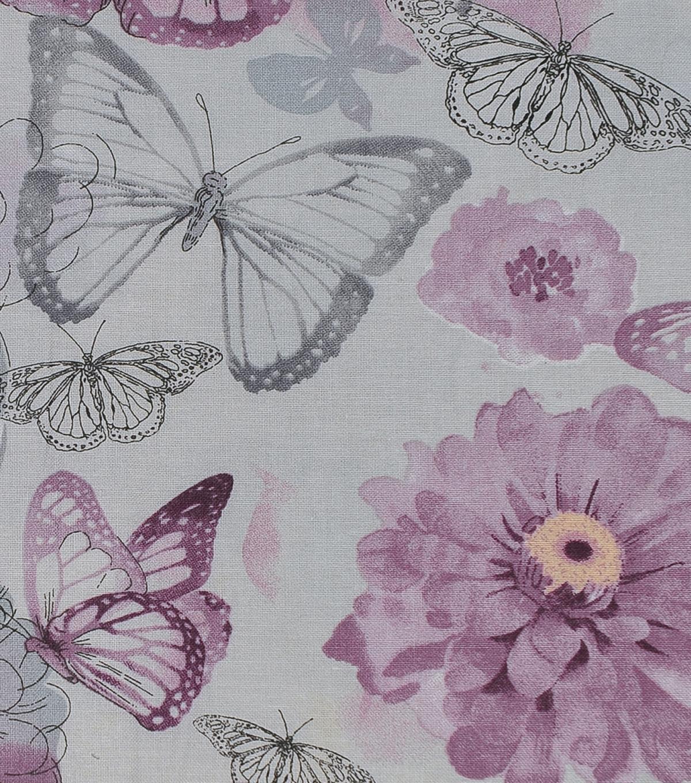 watercolor floral large purple pink aqua fabric - katarina