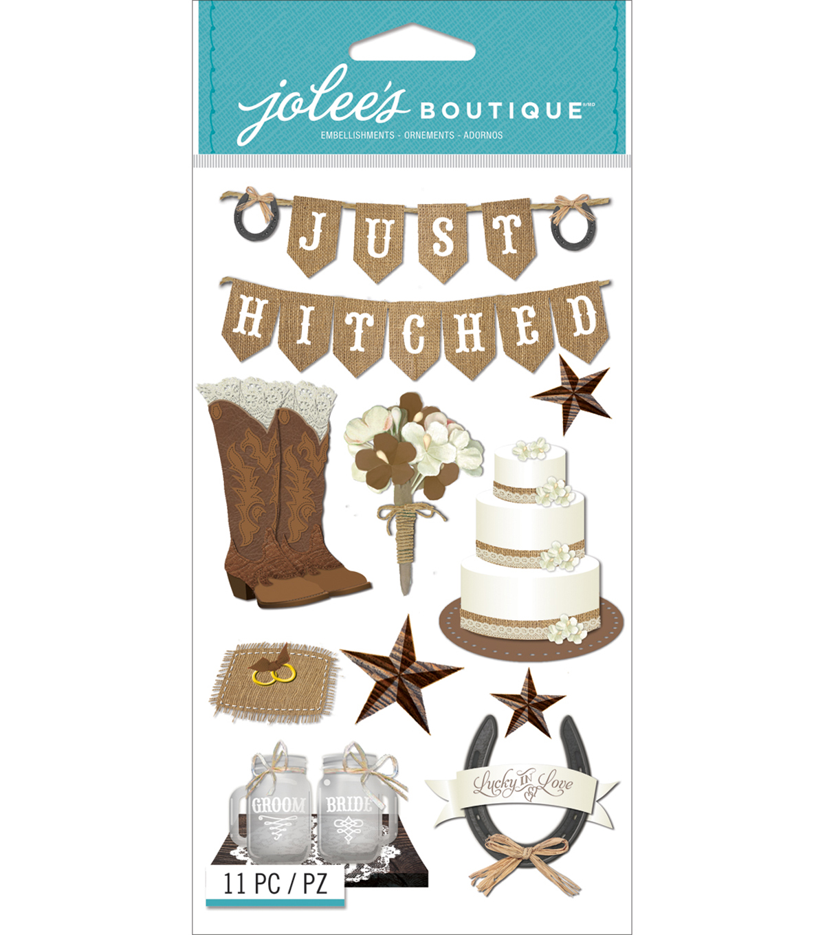 Jolee\u0027s Boutique Dimensional Stickers-Western Wedding