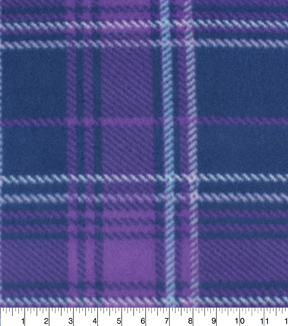 Blizzard Fleece Fabric -Aspen Purples Plaid