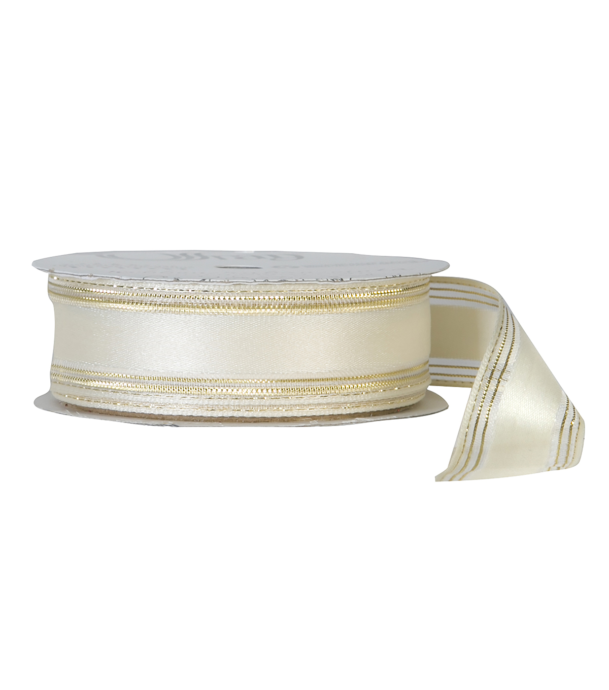 Offray 7/8\u0022x9\u0027 Double Metallic Woven Stripe Ribbon-Antique White and Gold