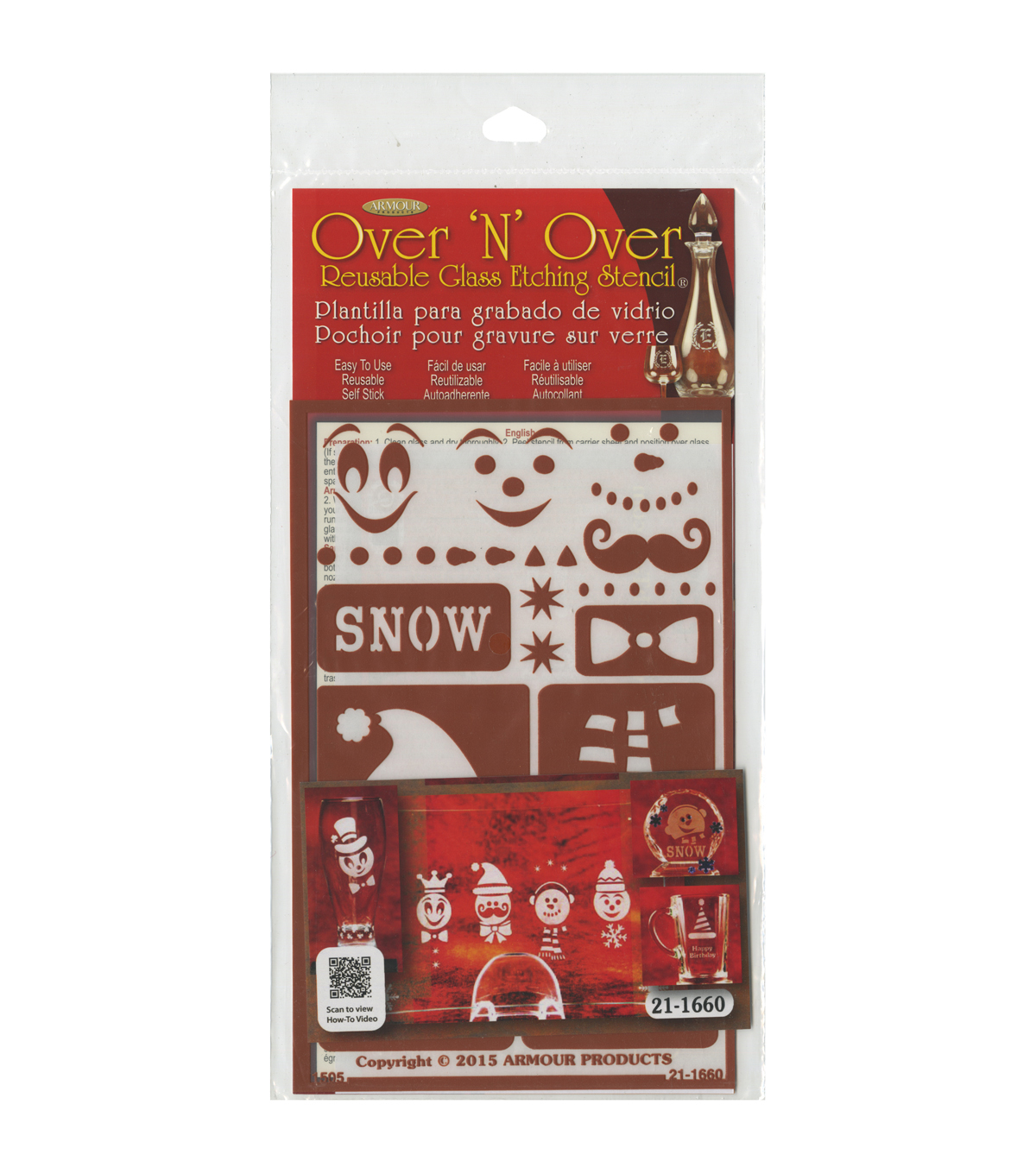 Armour Products Over \u0027N\u0027 Over Reusable Glass Etching Stencil-Snow Fun